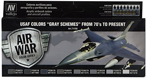 Acrylicos Vallejo'Usaf grigio Schemes from 70 's to present' Model Air set