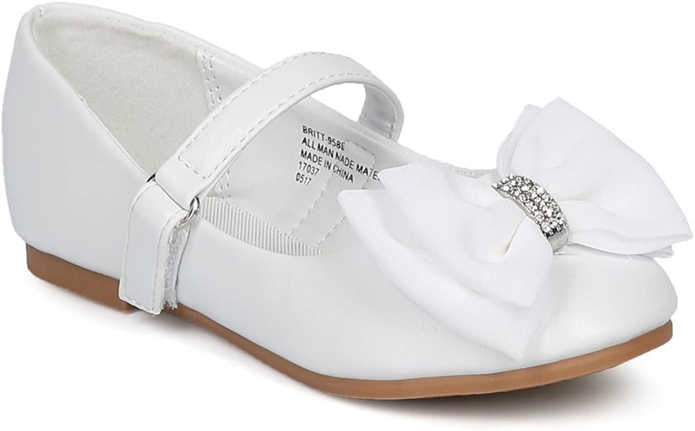 Alrisco Girls Bow Tie Mary Jane Ballerina Flat HE70 - White Leatherette (Size: 9 Toddler)