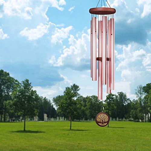 Noble House Windspiel Outdor Deep Tone, 101,6 cm großes Windspiel mit graviertem Baum des Lebens, gestimmte Windspiele für Garten, Hof, Terrasse und Heimdekoration (Mahagoni-Finish, 41)