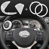 JINGSEN Bling Bling Car Steering Wheel Decorative Diamond Sticker, DIY Bling Car Steering Wheel Emblem Logo Badge for Women Bling Accessories for Lexus ES RX LS is CT LX GS LC RC GS-F RC-F(Large)