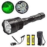 Linterna de caza verde, linterna de caza con luz verde coyote hog linternas para caza con interruptor de presión remoto Baterías recargables y cargador