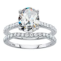Platinum over Sterling Silver Oval Cut and Round Cubic Zirconia 2 Piece Bridal Ring Set
