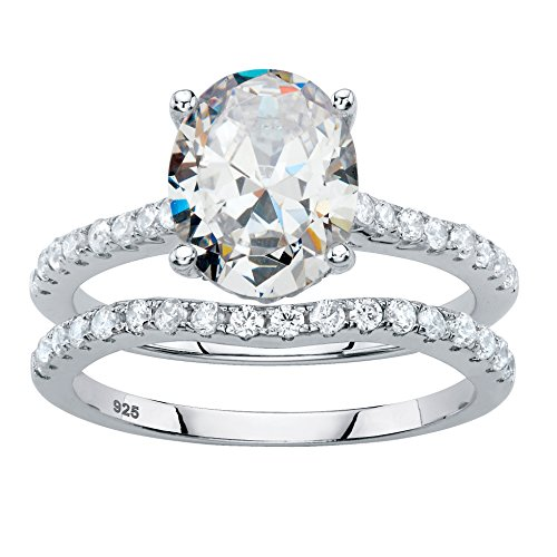 Platinum over Sterling Silver Oval Cut and Round Cubic Zirconia 2 Pair Bridal Ring Set Size 6