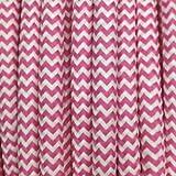 Cable eléctrico de tela de cebra rosa y blanco – Cable textil redondo 2 hilos 2 x 0,75 mm2.