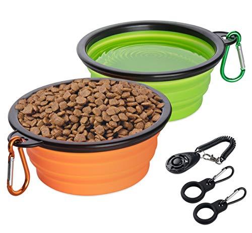 Mocraft Hundenapf Silikon 2 Stück Faltbar Reisenäpfe für Hunde tragbar Fressnapf mit 1 * klick Training + 2 * Wasserflaschenhalter Silikon Trinknapf Hund für Reisen Unterwegs mit Karabiner
