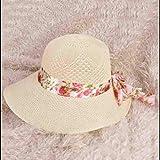 Zhangmeiren Versión Coreana De La Hembra De Gran Sombrero De ala Ancha A Un Precio De Arco De La Cinta Floral Cúpula Playa Sombrilla De Paja del Verano (Color : Beige)