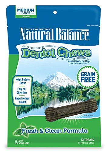 Natural Balance Dental Chews Dog Treats, Fresh & Clean Formula, Grain Free, for Medium Dogs,...
