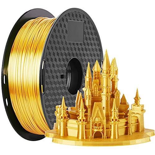 PLA-Filament 1,75 mm Silk Gold, MKOEM Silky Shiny 3D Printer Filament for 3D Printer and 3D Pen, 1kg 1 Spule