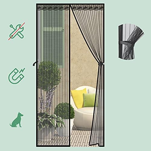 SAFETYON Mosquitera Puerta Magnetica, 90 x 210cm, Corredera Cortina Mosquitera Magnética para Puertas de Salón/Balcón/Corredor (Negro)