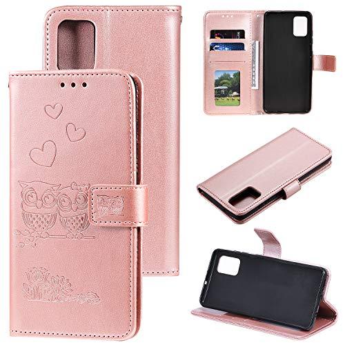ZTOFERA Flip Hülle für Samsung Galaxy A51, Süße Eule und Herz Muster Brieftasche mit [Magnetverschluss] [Kartenfächer] [Ständer] [Handschlaufe], Slim Handyhülle für Samsung A51 - Roségold