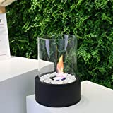 JHY DESIGN Tabletop Fire Bowl Pot Indoor/Outdoor Portable Tabletop Fireplace–Clean-Burning Bio Ethanol Ventless Fireplace (Extra Large Black)