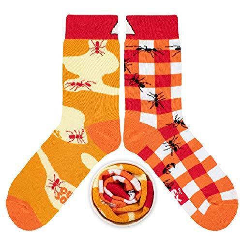CUP OF SOX Herren Damen Lustige Socken mit Ameisen - Gemusterte Bunte Geschenk Socken aus hochwertige Baumwolle, Orange, 45-48