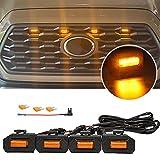 4PCS Lampe de calandre voiture,LED Voiture D'urgence Stroboscopique 4 en 1,calandre lumières...
