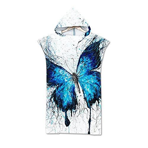 Toalla De Baño Con Capucha De Microfibra Impresa Digitalmente En 3D,Insecto Hermoso Azul De La Mariposa,Deporte Usable Del Viaje Del Baño Para Los Adultos Que Nadan La Toalla Del Gimnasio De La