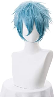 YYCHER Anime My Hero Academia Boku no Hiro Akademia Shigaraki Tomura Wigs Short Gray Blue Mixed Curly Cosplay Wig + Wig Cap