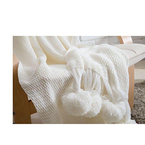 Hodoo Gestrickte Decke, leichte handgemachte Decke Handgestrickte Decke Bett mit Sofa für europäischen Stil Ball für den Einsatz im Büro Blanket