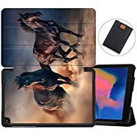 """MAITTAO Touch-screen Case For Samsung Galaxy Tab A 8.0 2019 Release P200 P205, Ultra Slim Folio Cover Stand Tablet Case for Galaxy Tab A with S Pen 8.0"""" 2019 (SM-P200 SM-P205), Akhal-Teke Horse 16"""