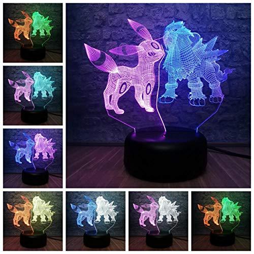 Cartoon Pokemon Umbreon $ Entei Figuren 3D Mixed LED Lampe RGB Blub 7 Farbwechsel Tisch Nachtlicht Schlafzimmer Dekor Kind Spielzeug Geschenk