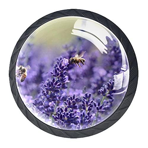 Lavanda flor púrpura malva, perilla de gabinete de cajón de alta calidad Hardware paquete de 4 para la oficina, el hogar, la cocina y el cuarto de baño aparador