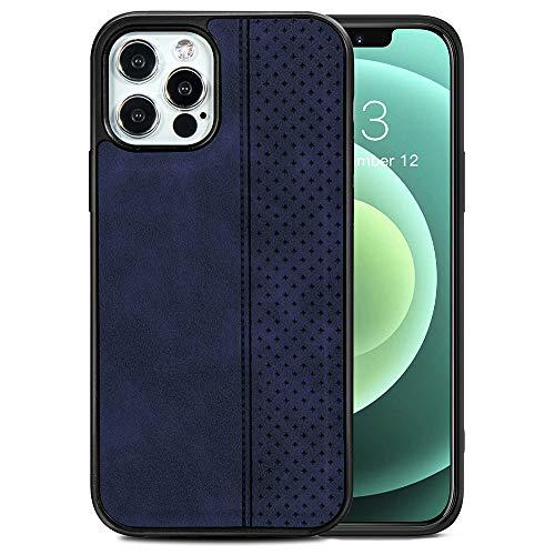 TANYO Étui en Cuir avec MagSafe pour iPhone 12 Pro Max (6.7 Pouces), Housse en Prime TPU/PU avec Fonction Magnétique MagSafe, Coque de Téléphone Antichoc en Silicone TPU - Bleu