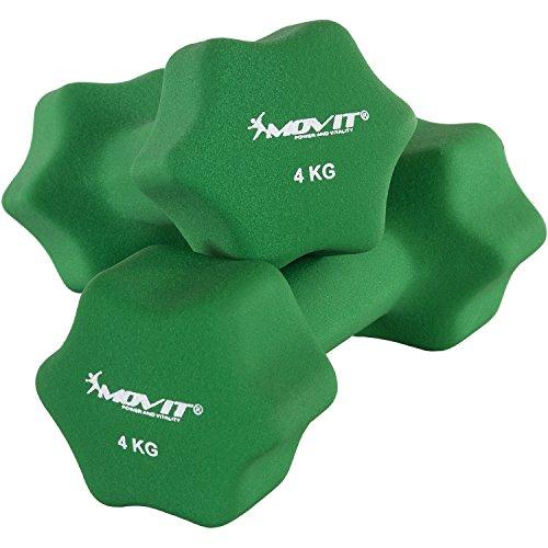 Movit 2er Set Neopren Hanteln, Kurzhanteln mit Oberfläche aus Neopren, 2X 4 kg Dunkelgrün