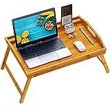 Pipishell Bamboo Bed Tray Table, Large Breakfast Tray -...