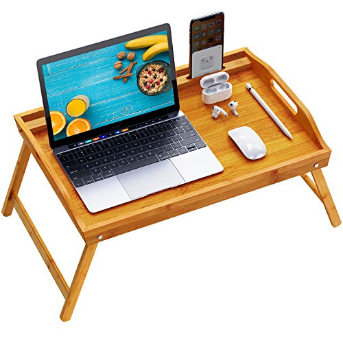 Pipishell Bamboo Bed Tray Table, Large Breakfast Tray - 21x13.9 Inch with Folding Legs, Multipurpose Serving Tray Use As Portable Laptop Tray, Snack Tray, Platter Tray for Working, Eating, Reading