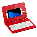 Tonsee General Wired Keyboard Flip Holster Case for Andriod Mobile Phone 4.2''-6.8'',Rot