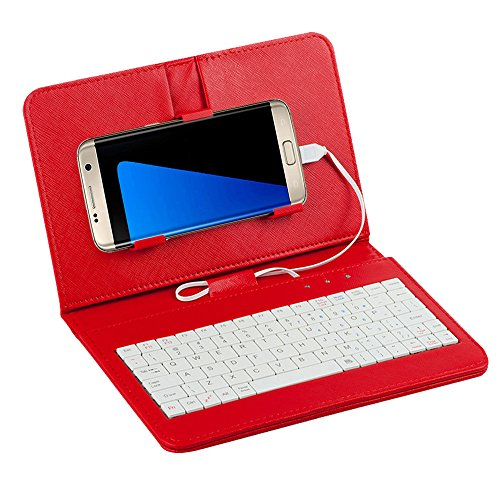 Tonsee General Wired Keyboard Flip Holster Case for Andriod Mobile Phone 4.2-6.8,Rot