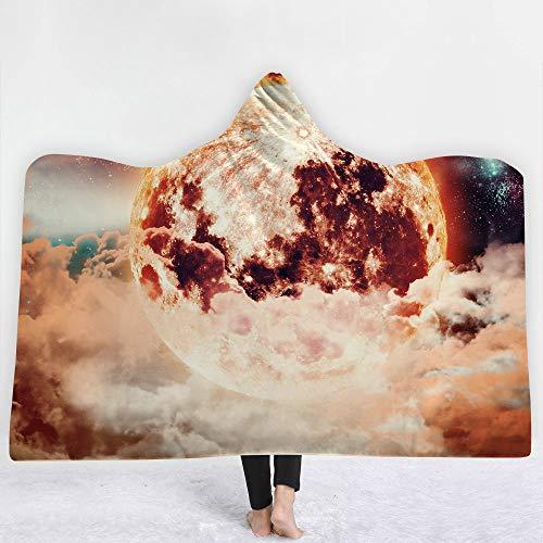 Couverture imprimée 3D capuche couverture planète cosmique Double couche couche chaude peluche couverture TV Sherpa femmes et fille, cadeau chaleureux ami de la famille, personnalisable,I,130*150cm
