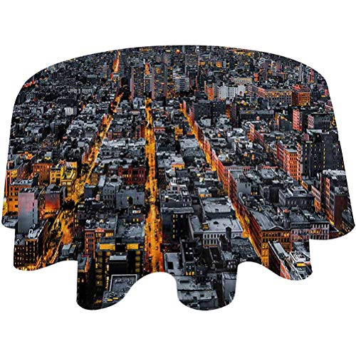 Round Table Cover City Spillproof Fabric Tablecloth Avenues to Midtown NYC Tablecloth for Dinner Parties Round,50 inch