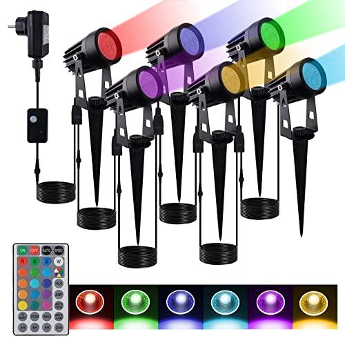 Bociks 6 juegos de luces de jardín RGB con puntas,focos de jardín LED con enchufes, luces de jardín al aire libre IP65 RGB impermeables,alumbrado público,iluminación de césped,ambiente decorativo
