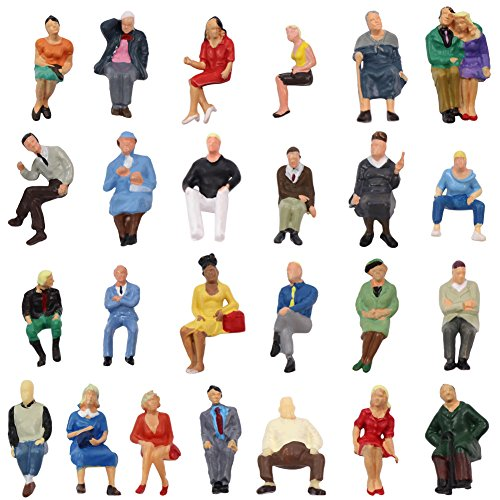 P4806 25 pcs All Seated Figures O Gauge 1:50 Scale Painted People 2.59-3.28cm or 1.02-1.29 Model Railway New