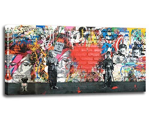 Impression sur toile Banksy - Art mural abstrait - Graffiti - Décoration murale - Pour salon, bureau, maison - 60 x 120 cm