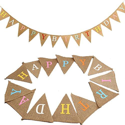 G2PLUS 13 STK Schöne Wimpel Girlande Süße Papier Bunting Wimpelkette Farbenfroh Wimpeln für Draußen - Happy Birthday