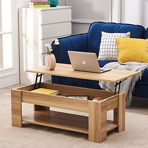 Lift Up Top Coffee Table, Wooden Coffee Tea Table with Sliding Top & Large Hidden Storage Space Living Room Furniture (Oak)
