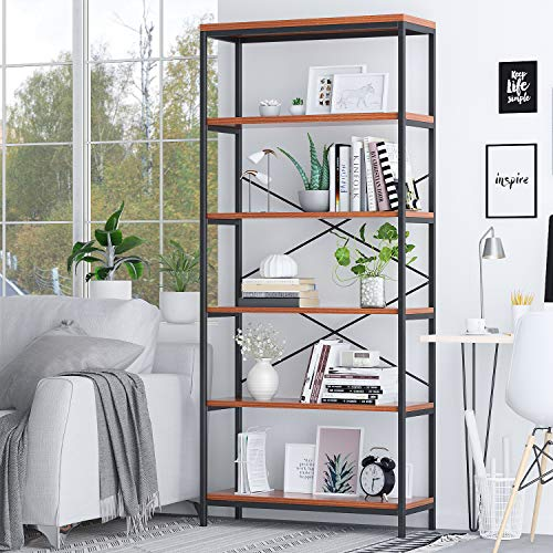 BATHWA Tall Bookshelf Mordern Wood Metal Open Industrial Book Shelves Bookcase Shelving Unit Storage System 5 Tier