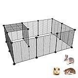 SIMPDIY recinto de Metal para Mascotas, recinto para pequeños Animales DIY / Jaula de Ejercicio portátil Interior/Exterior para Cachorro, Conejo, Conejillo de Indias, 12 de Paneles (35x35cm)