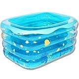 LZTET Baby-aufblasbarer Swimmingpool-Quadrat-Badewannen-Isolierverdickter Badebecken-Baby-Ozean-Ball-Pool-Sand-Pool der Mather Pool Schäumt,Blue