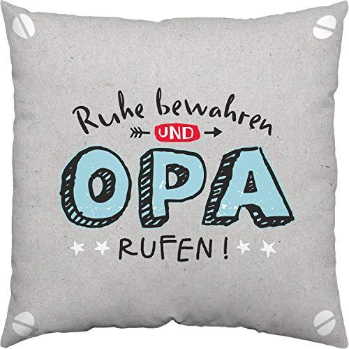 H:)PPY life 46121 Kissen Opa, Grau, 40 cm x 40 cm