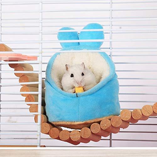 AKDSteel Minibett Warme kleine Haustiere Tiere Haus Gemütliches Nest Käfig Zubehör für Zwerghamster Blaues Baby L,Praktisch langlebig