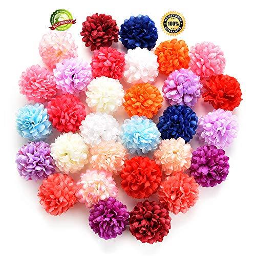 Silk Flowers in Bulk Wholesale Artificial Carnation Flower Head Handmade Home Decoration DIY Event Party Supplies Wreaths 30pcs/lot Approx 4cm (Multicolor)