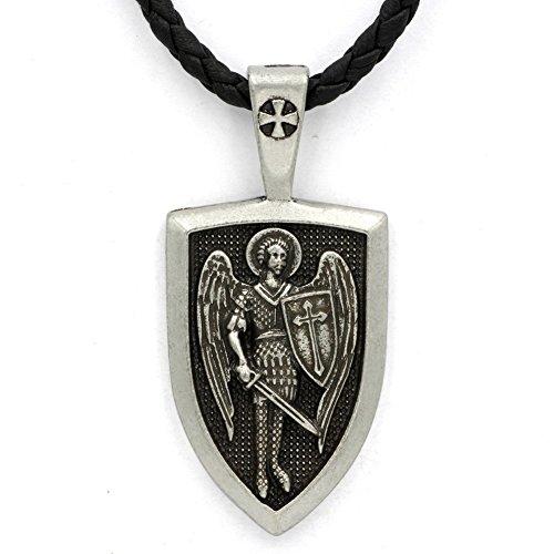 TTKP Men Archangel Medal Archangel St.Michael Protect Me Saint Shield Protection Charm Russian Orhodox Pendant Necklace