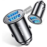 [2-Packs] Cigarette Lighter USB Charger, All Metal Mini Car Charger Adapter 4.8A Fast USB Car Charger 2 Port Flush Fit Compatible with Xs max/XR/x/7/6s, Air 2/Mini 3, Note 9/Galaxy S10/S9/S8 - Black