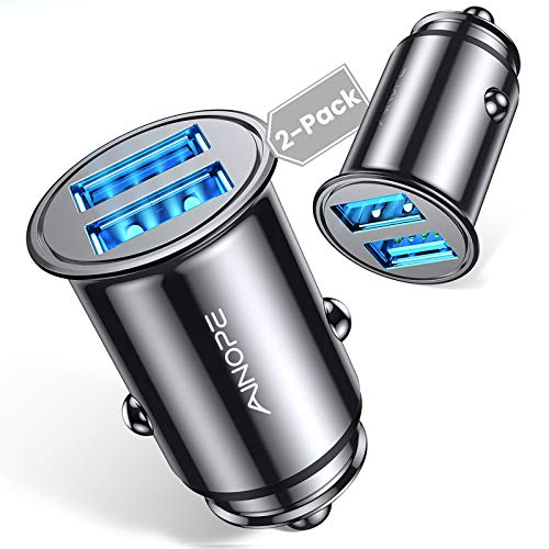 [2-Packs] Cigarette Lighter USB Charger, All Metal Mini Car Charger Adapter 4.8A Fast USB Car Charger 2 Port Flush Fit Compatible with iPhone 12/11pro/x/7/6s, iPad Air 2/Mini 3, Galaxy S10/S9/S8-Black