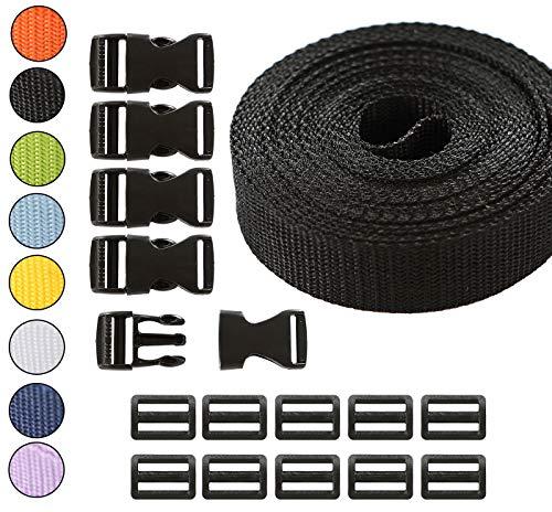 Roban Fashion Gurtband Polypropylen 5m mit Schnallen Klickverschluss/Klippverschluss x5 und x10 Leiterschnallen 20mm,Schwarz