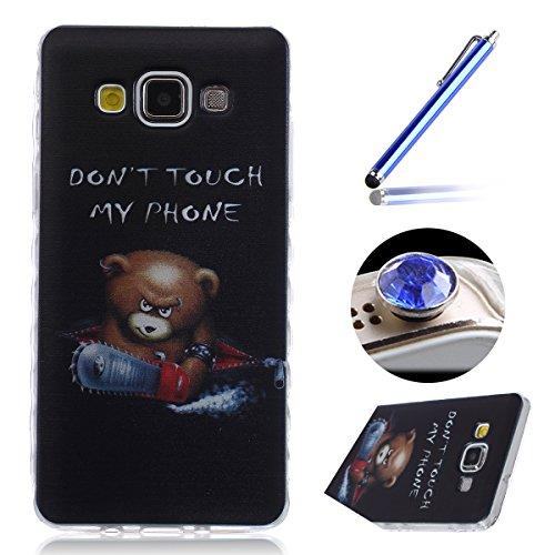 Etsue Samsung Galaxy A5(2015) Housse,Etui Housse Coque de protection Silicone TPU Gel pour Samsung Galaxy A5(2015),silicone coloré imprimé en caoutchouc souple de gel Housse pour Samsung Galaxy A5(2015) + 1x Bleu style + 1x Bling poussière plug (couleurs aléatoires)- ours