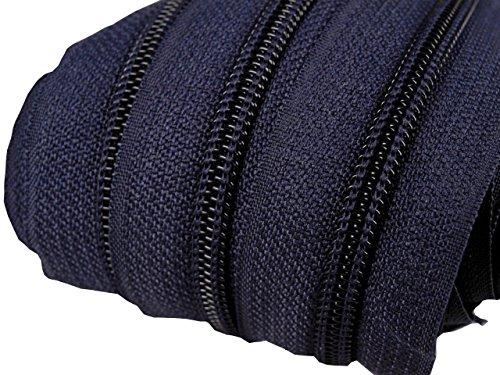 Schnoschi 6 m endlos Reißverschluss 5 mm Laufschiene + 15 Zipper Meterware teilbar Farbwahl (dunkelblau)