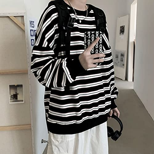 Skrowhn Otoño Stripas sueltas Camiseta Casual High Street Punk Style Style Ropa juvenil All-Match Harajuku Top (Color : A, Size : X-Large)