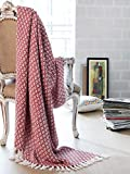 Throw Blanket with Fringes in Mini Diamond Design 50x60 Inch -Red White, Cotton Throw for Sofa, Chair, Bed, & Everyday Use, Well Crafted for Durability, Farmhouse Throw,All Season Throw Blanket